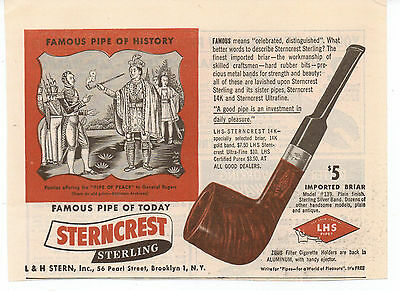 Vintage, Original 1946 - Sterncrest Sterling Pipe Advertisement