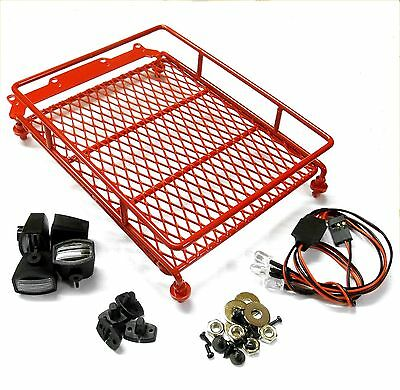 L-047R 1/10 Scale Truck Rock Crawler Body Shell Roof Luggage Tray Lights Red
