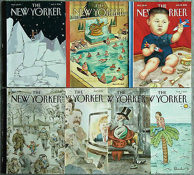 Lot of 7 New Yorker Magazines January, February, March 2016