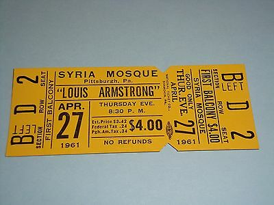 LOUIS ARMSTRONG 1961 UNUSED CONCERT TICKET SYRIA MOSQUE Pittsburgh PA USA JAZZ