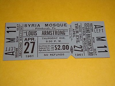 LOUIS ARMSTRONG 1961 UNUSED CONCERT TICKET SYRIA MOSQUE Pittsburgh, PA USA JAZZ