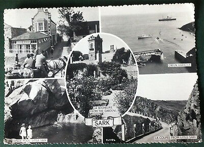 Sark Multi View Black and White Guernsey Press Real Photo Postcard