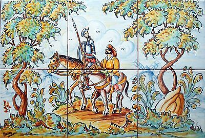 "Hand Painted QUIXOTE and SANCHO, tiles 18""x12"" original Spanish  high quality,"