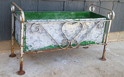 Antique Shabby Galvanized Metal Garden Planter Box w/ Wrought Iron Heart Frame