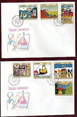 CARIBBEAN STAMPS- Children Art, 2x FDC 1971