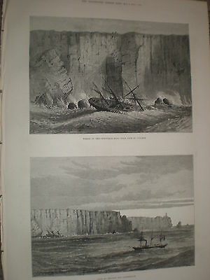 Cape St Vincent lighthouse and wreck SS Childwall Hall 1878 old print ref Y1