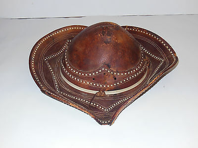 Vintage /Antique Hand-Made Leather Gaucho Hat