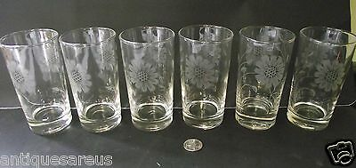 6  Cornflower Type Water Glasses Or Tumblers 4 7/8""