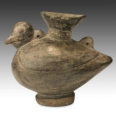 Pre-Columbian Bird-Form Vessel Blackware Chimu Peru S. America 1000 - 1450 Ad