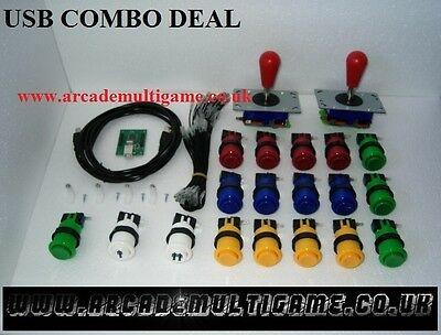 USB Arcade Joystick Controller For PC & PS3 (2 Player Version) RED BAT TOP KIT