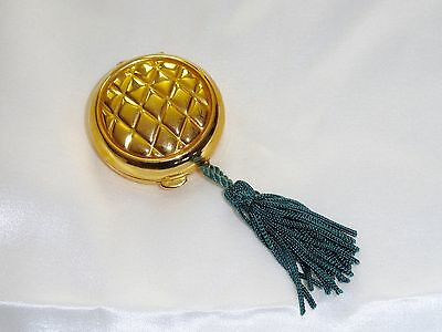 Tova Solid Perfume Compact Gold Quilted Green Tassel