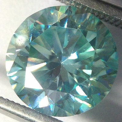 1.00 ct 6.60 mm VS1 Fiery blue loose moissanite round brilliant cut GEM EDHnr