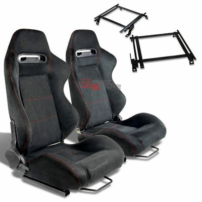 2X Type-R Black Suede Red Stitch Racing Seat+For 02-06 Rsx Dc5 Adapter Bracket