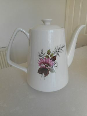 Vintage Coffee Pot Lord Nelson Pottery Floral Pink Retro Wedding Tea Baby Shower