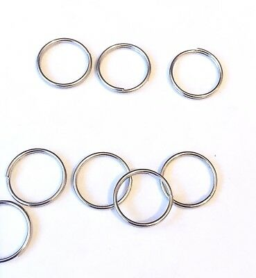 10mm x 100 Pieces Silver Metal split Rings/Jump Rings for Keyrings....UK SELLER