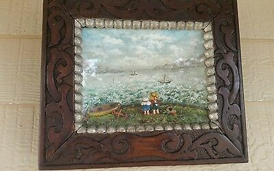 """Antique Maritime Hand Made Diorama """"What Are the Wild Wave Saying, Sister! Dear"""""""
