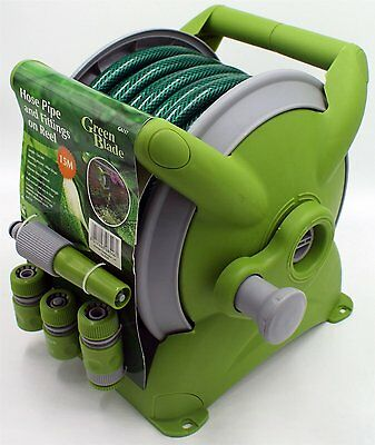 15M Garden Hose Pipe & Compact Wall Reel Fittings Set Standing Wall Mounted