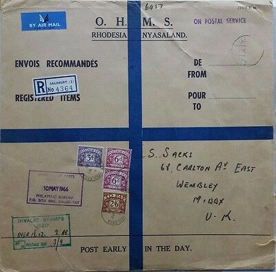 Rhodesia 1966 O.h.m.s. Regist Invalid Stamps Cachet Cover & British Postage Dues