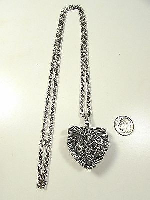 Lee Sands Marcasite Heart Basket w Watch Pendant w Antiqued Chain link Chain