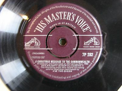 """HM the Queen A British Message to the Commonwealth Christmas 1959 7"""" Record RARE"""