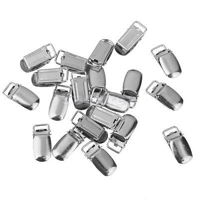 20Pcs Pacifier Metal Suspender Clips Ribbon Craft Hook Holder 10mm Silver