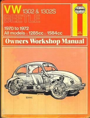 Vw Beetle 1302,1302 S,super Beetle,bug Haynes Workshop Manual 1970-1972