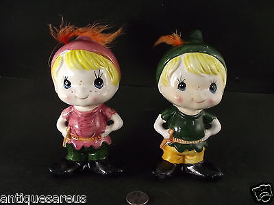 2 1960's GIFTCRAFT  BANKS ROBIN HOOD ? PETER PAN ?  REAL FEATHERS TAIWAN