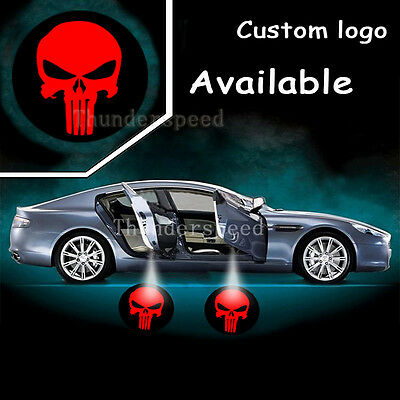 2x Logo Badge Punisher Car Door Laser Led Shadow Light Projector Welcome Lamp