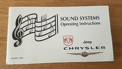 Genuine DODGE JEEP CHRYSLER Sound Systems Operating Instructions 81-426-71505
