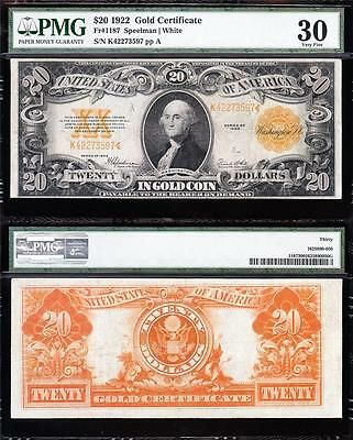AWESOME Bold & Crisp VF++ 1922 $20 GOLD CERTIFICATE! PMG 30! FREE SHIP K42273597