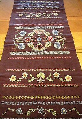 Antique Runner Arts and Crafts Table Cover Wool Embroidered Panel Flowers