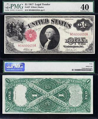 "Awesome HIGH GRADE $1 1917 ""SAWHORSE"" US Note! PMG 40! FREE SHIPPING! H54664459A"