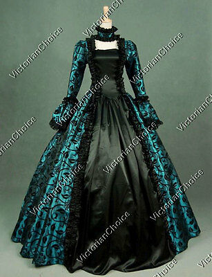 Gothic Renaissance Brocade Dress Gown Steampunk Theater Clothing 119 TEAL