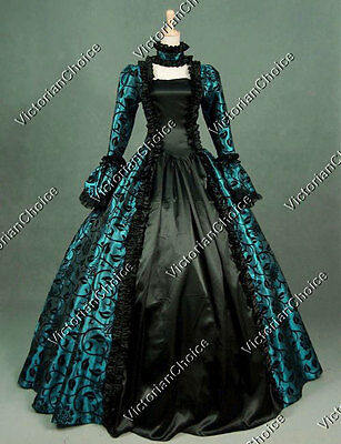 Gothic Renaissance Brocade Prom Dress Gown Steampunk Theater Clothing 119 TEAL