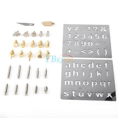 Brass&iron Wood Burning Pyrography Alphabet Numbers Symbols Stamps Tip DIY Tools