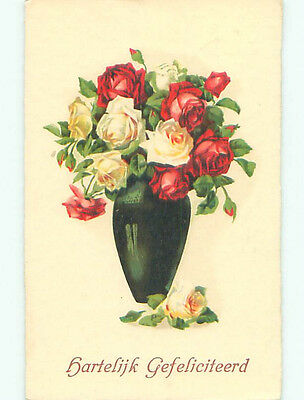 Pre-Chrome foreign BEAUTIFUL ROSE FLOWERS IN ANTIQUE VASE J4505