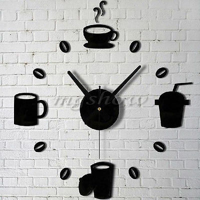Modern DIY Home Decor Large Coffee Cup Kitchen 3D Wall Mirror Clocks Watch Decal