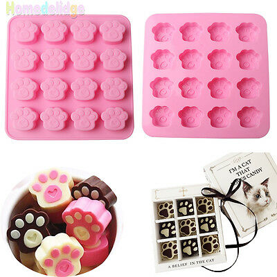 Cat Dog Paw Print Silicone Cookie Candy Chocolate Ice Cube Cake Soap Baking Mold