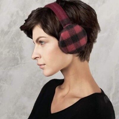 100% AUTHENTIC NWT Burberry Cashmere Bright Burgundy House Check Earmuffs FREESH
