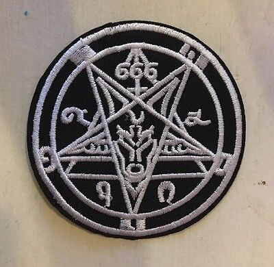 Heavy Metal Black Pentagram 666 Patch Satanic Demonic Goat