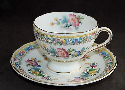Vintage E Brain Foley China MING ROSE Footed Demitasse Cup & Saucer Duo