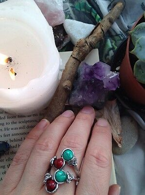 Beautiful Tibetan Silver Ring, Featuring Red And Green Turquoise Stones. Tribal.