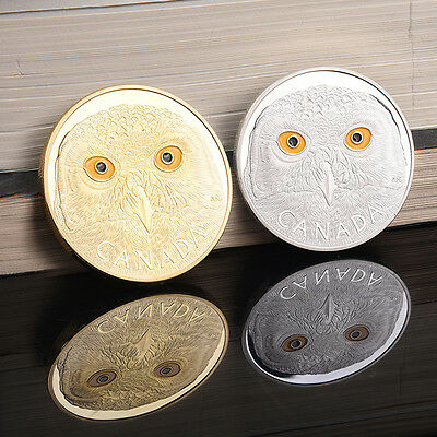 Canadian Owl Silver Plated Coin Elizabeth Metal Medallion Commemorative Coins