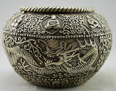 Collectible Decorated Old Handwork silver plate copper Carve Dragon Exorcism Pot