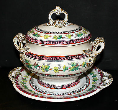 Antique = Lidded Tureen with Plate = Norwood Design =