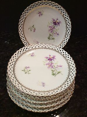 Set 6 Reticulated Schumann Bavaria China Dessert Salad Plates Columbine