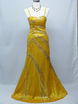 Cherlone Yellow Ballgown Wedding Evening Bridesmaid Full Length Dress Size 12-14