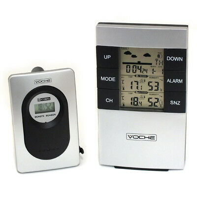 Wireless Lcd Digital Weather Station Alarm Clock Indoor Outdoor Temp. & Humidity