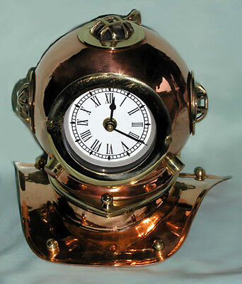 "Divers Helmet Clock, Brass with Copper Finish, NEW Antique Reproduction, 8"" X 6"""