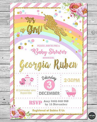 Unicorn Baby Shower Personalised Invitation Invite Card Pink Gold Girl Floral